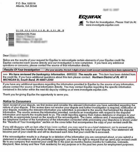 Bankruptcy Removed from Equifax