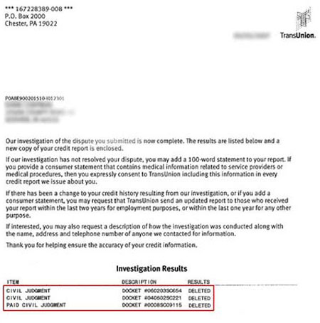 Judgment Removed from Credit Report